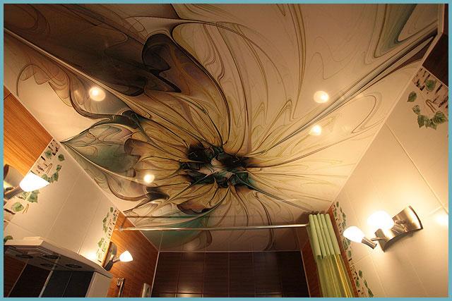 Натяжной тканевый потолок для ванной