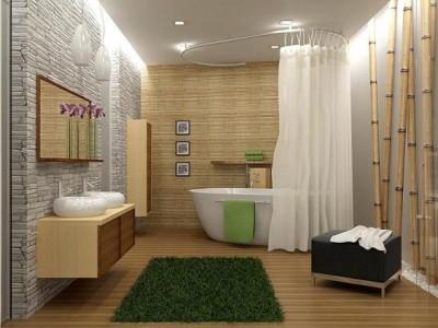 Бамбуковые серые обои в ванной
