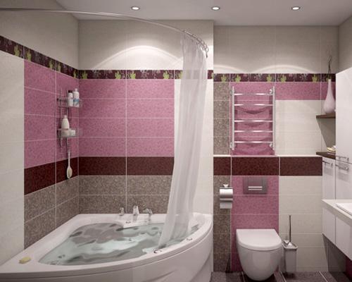 Красивый металлический карниз в ванне