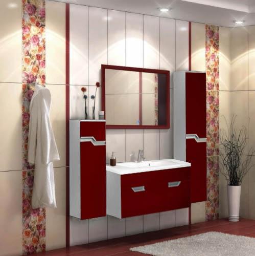 Мебель для ванной красного цвета