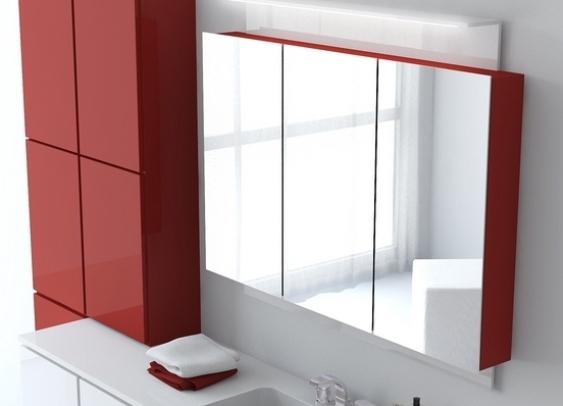 Навесной шкаф в ванную с прямоугольными дверцами