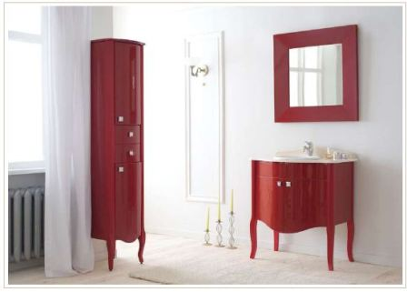 Пенал для ванной в красном цвете