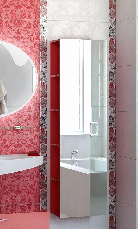 Шкаф красный зеркальный