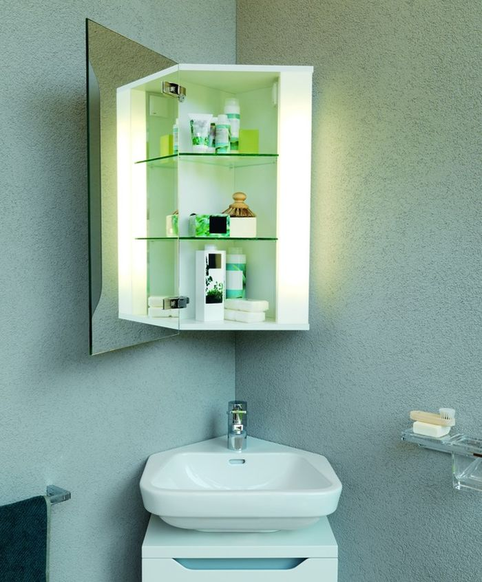 Подвесной угловой шкаф в ванную
