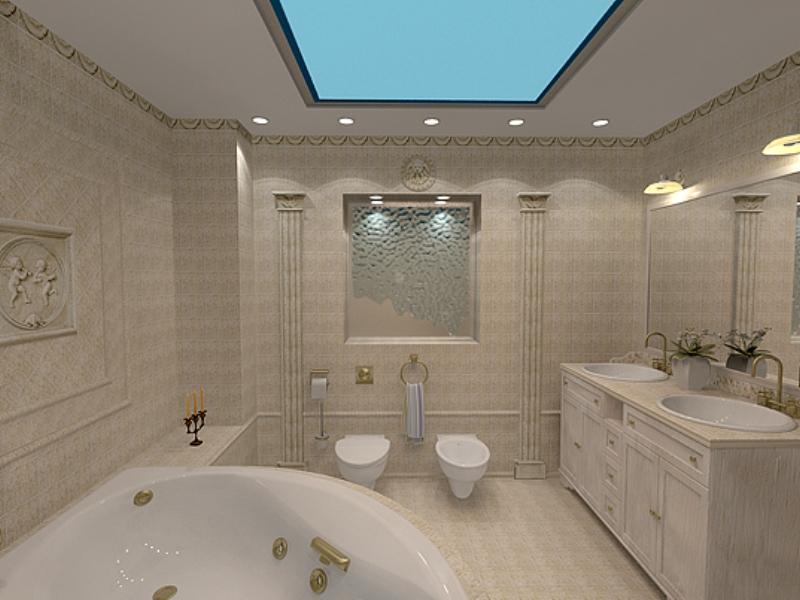 Применение натяжного потолка в ванной комнате