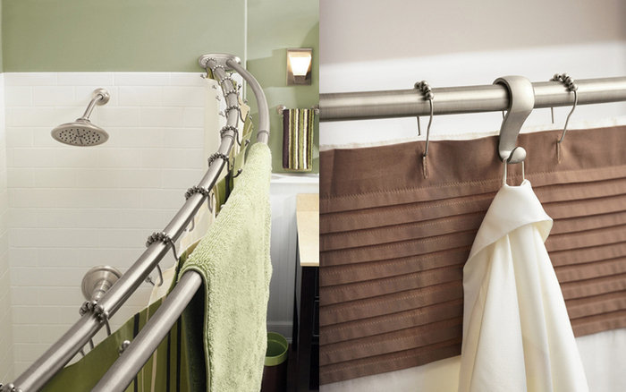 Шторки для ванной на крючках