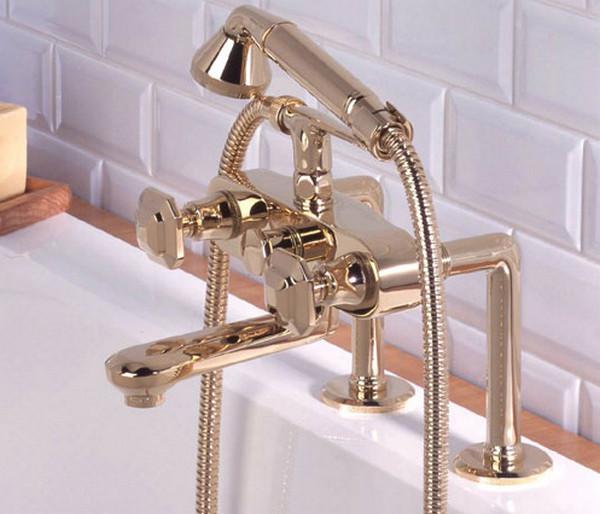Смеситель золотой для ванны, вентильный