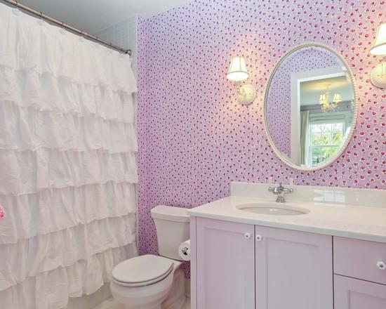 Текстильные шторы с ободками для ванной комнаты