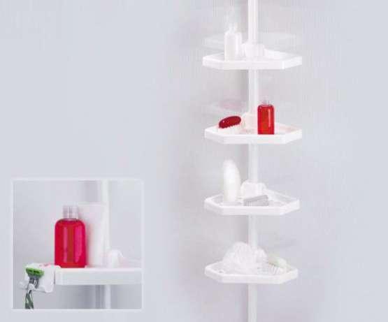 Телескопическая угловая полка для ванной комнаты