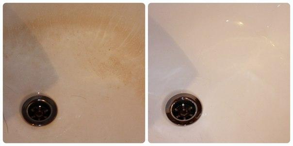 Удаление налета желтизны в ванной