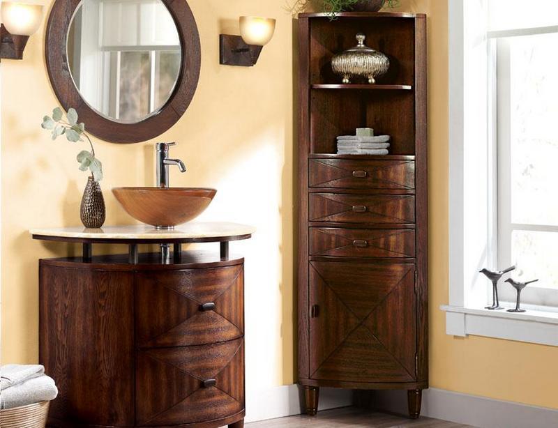 Угловой шкаф пенал для ванной