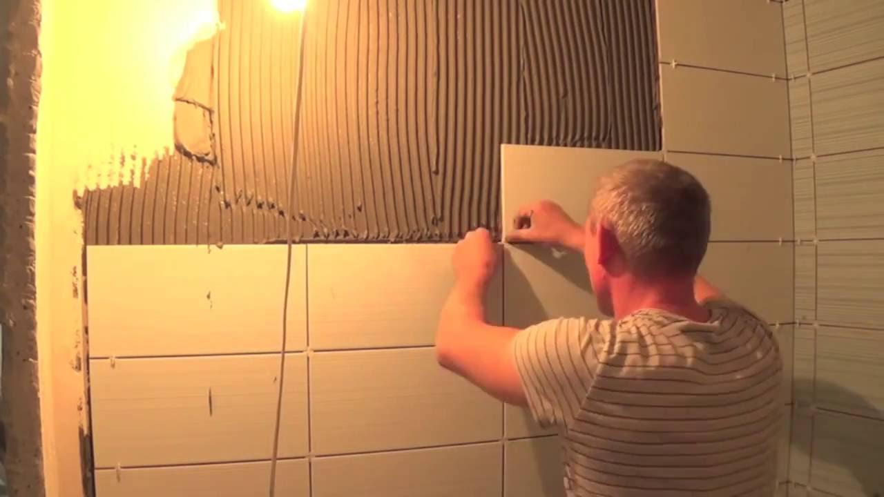 Укладка отделки в ванной комнате