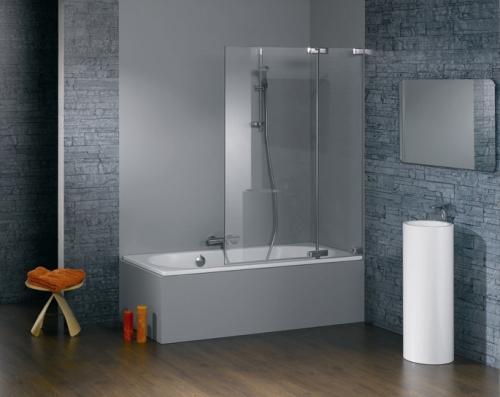 Жесткие шторки из стекла для ванной