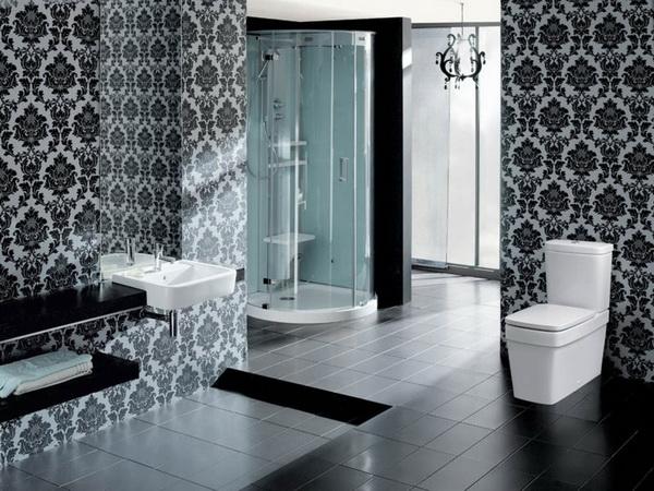 Черно белые обои в интерьере ванной