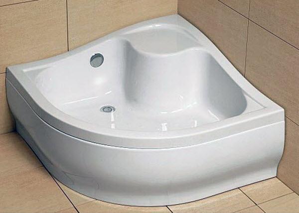 Керамический белый и глубокий поддон для душевых кабин