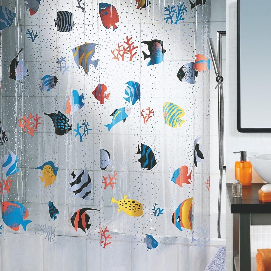 Многоцветная прозрачная штора для ванной