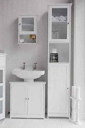 Пенал для ванной комнаты белый