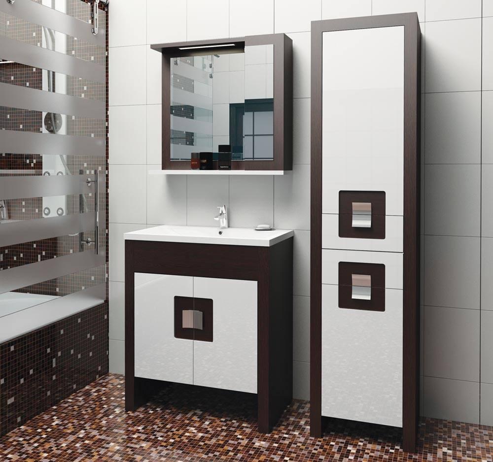 Пенал для ванной комнаты в коричнево белом цвете