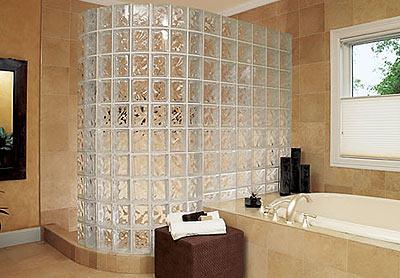 Перегородка в ванной из стеклоблоков