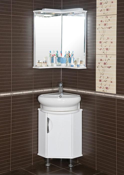 Белая мебель в коричневую ванную комнату