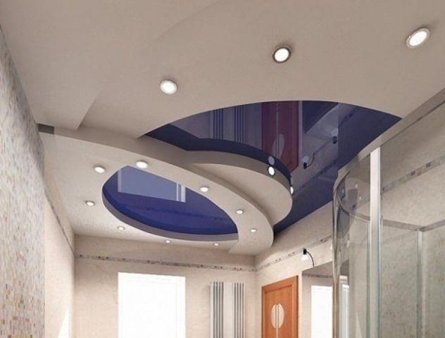 Гипсокартон на потолке в ванной