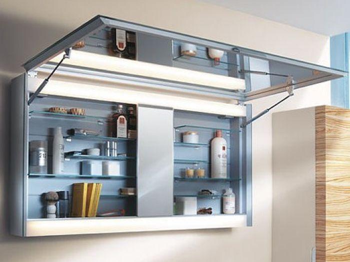 Горизонтальный навесной шкаф в ванную