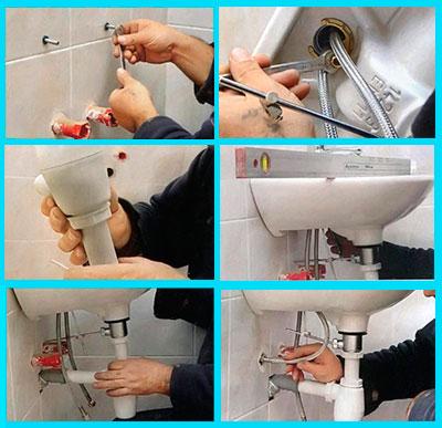 Процесс крепления раковины к стене