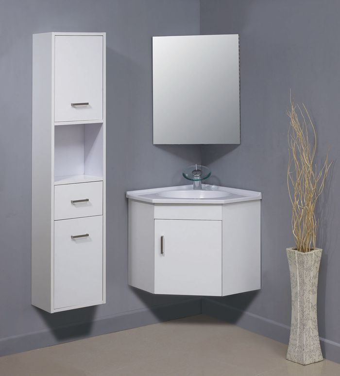 Навесной угловой шкаф в ванную под раковину