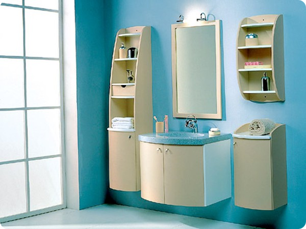 Открытые шкафчики для ванной
