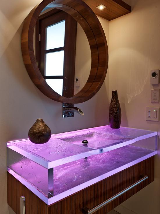 Стеклянная раковина с цветной подсветкой для ванной комнаты, фото