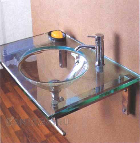Столешница с практичной раковиной из стекла