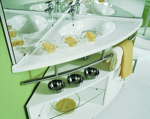 Угловая раковина для ванной - фотоидеи обустройства санузла для ванной
