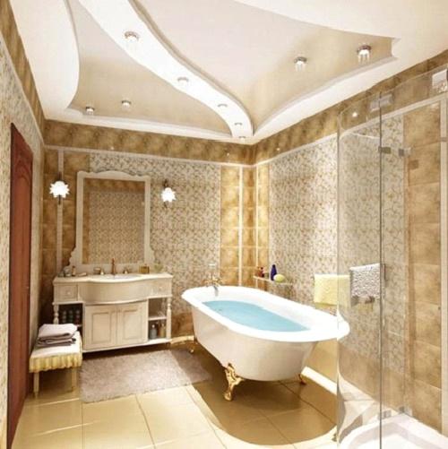 Внешний вид ванны с гипсокартонным потолком