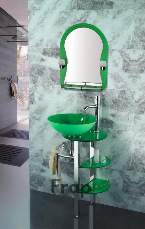 Зеленая мебель с раковиной для ванной