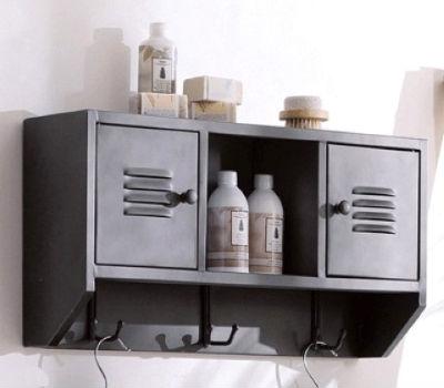 навесной шкафчик для ванной комнаты с крючками