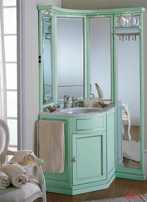 Угловая мебель в бледно зеленом цвете для ванной