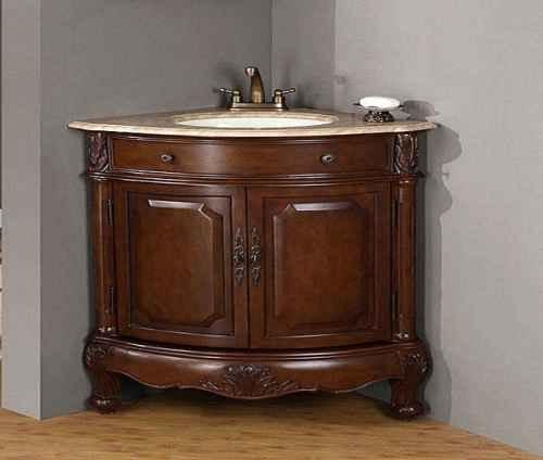 Угловая раковина с деревянной тумбой для ванной