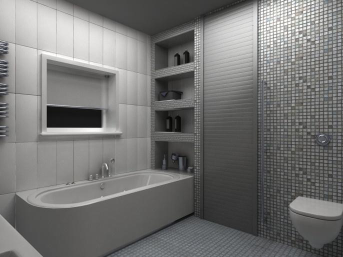Гипсокартонная конструкция прекрасно вписывается в минималистичный интерьер ванной
