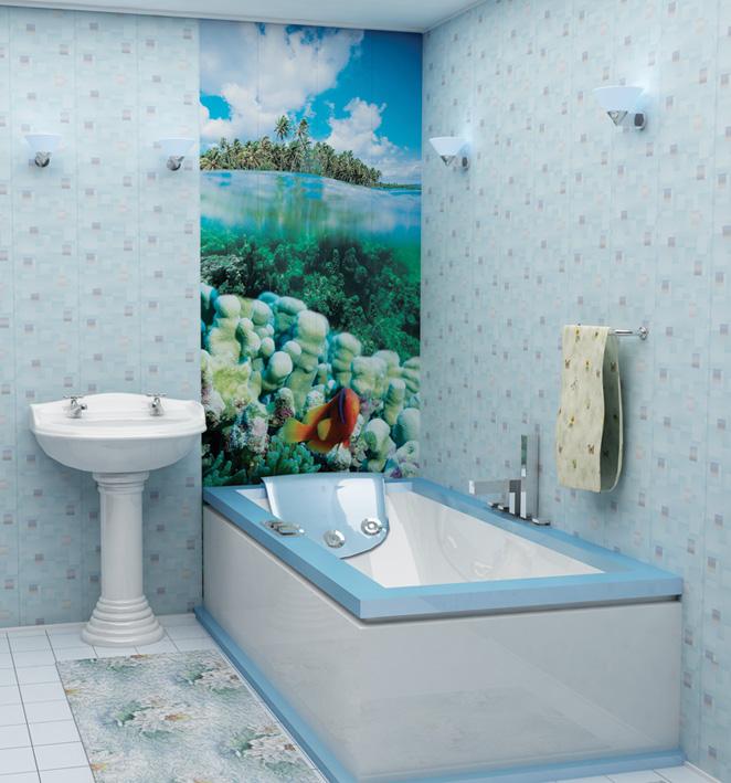 Интерьер ванной оформленный пластиковыми панелями