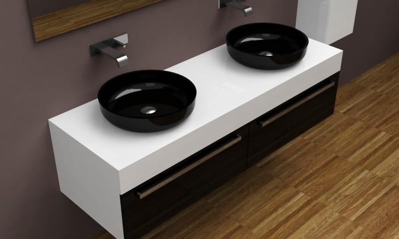 Подвесная тумба с двумя раковинами для ванной комнаты