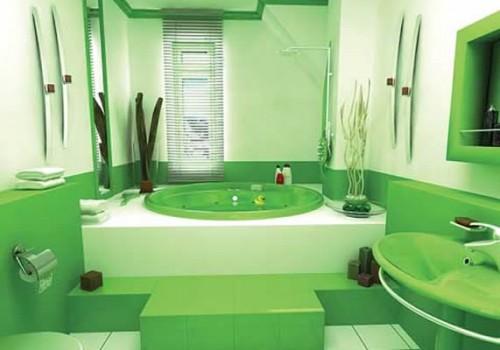 Пример отделки стен ванной комнаты краской