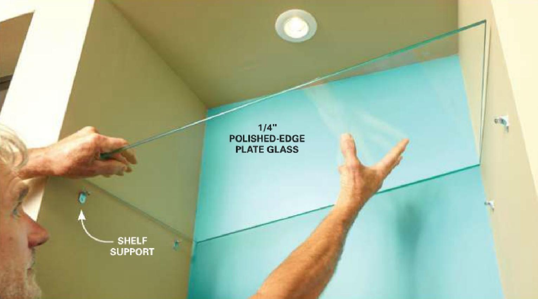 Размещение полки в ванной на держатели