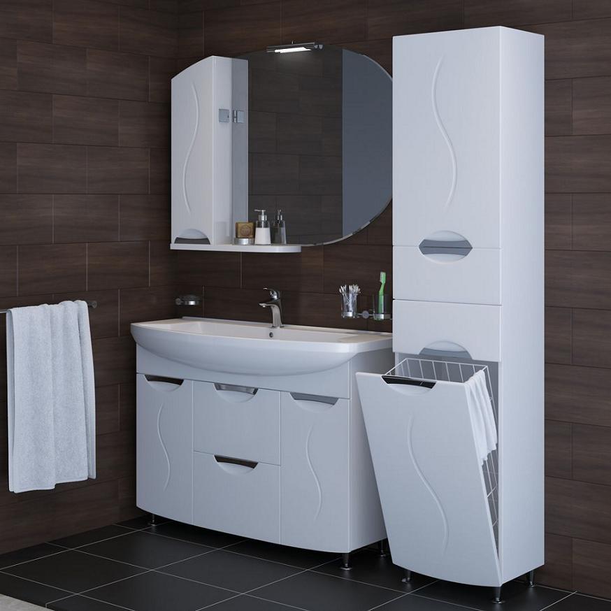 Шкаф пенал с корзиной для ванной комнаты
