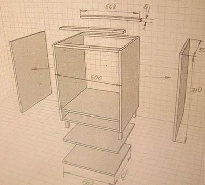 Схема чертеж тумбы под раковину