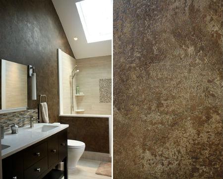 Декоративная штукатурка коричневого цвета в ванной