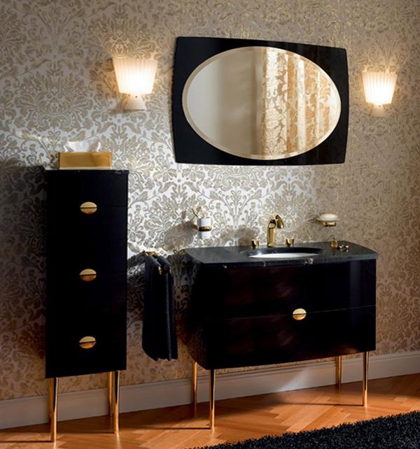 Темная классическая мебель в ванную