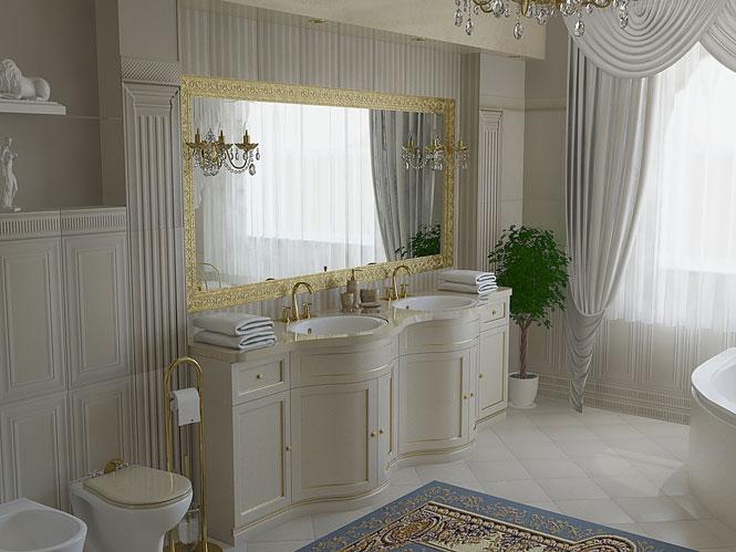 В классической ванной комнате часто используется светлая мебель