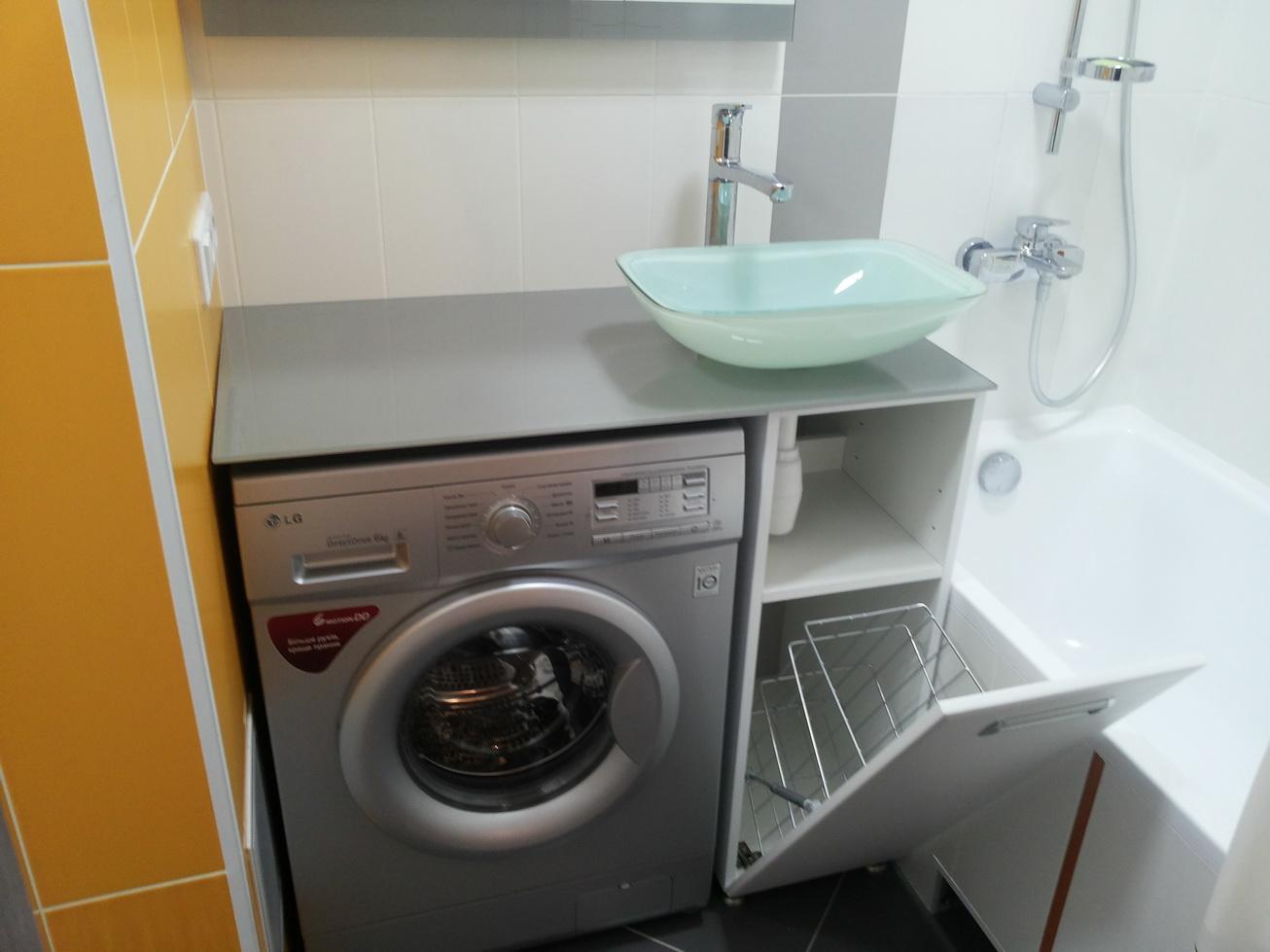 Встроить стиральную машину под стеклянную столешницу