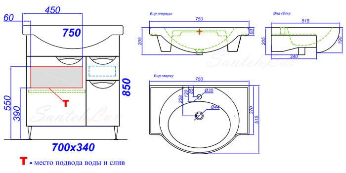 Схема шкафа для раковины