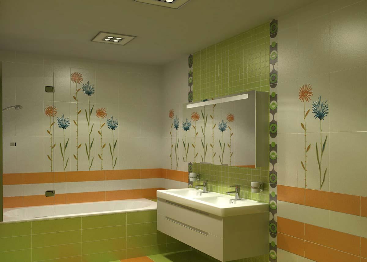Дизайн ванной комнаты в ярких цветах